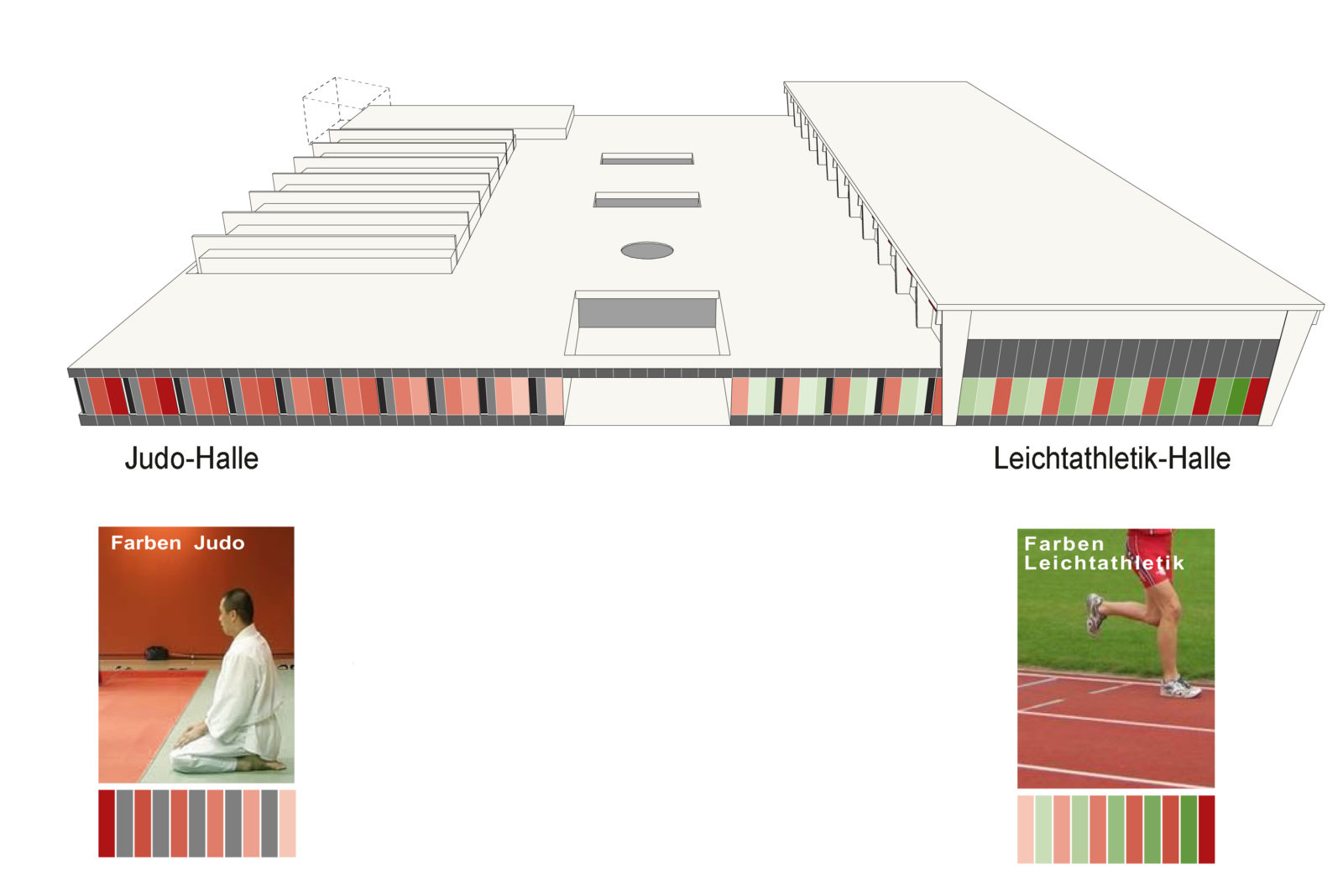 Trainingshalle Olympiastuetzpunkt Judoka und Leichtathletik Leipzig - Fassadenkonzept