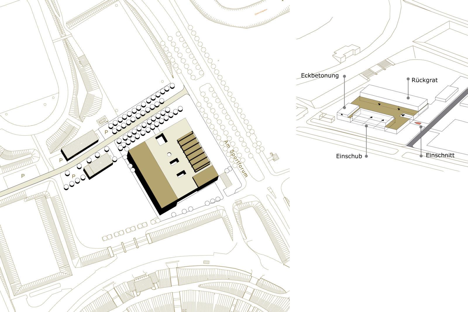 Trainingshalle Olympiastuetzpunkt Judoka und Leichtathletik Leipzig - Lageplan