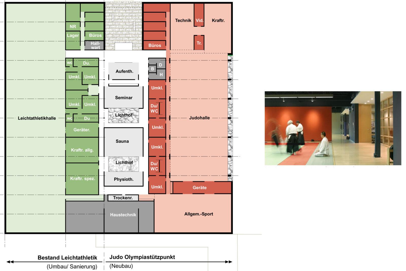 Trainingshalle Olympiastuetzpunkt Judoka und Leichtathletik Leipzig - Grundriss