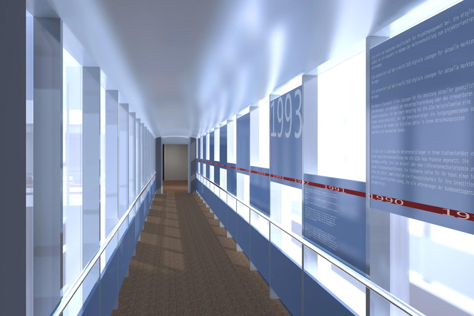 Neugestaltung Geschäftsräume GiSA GmbH in Halle - Flur mit Zeitstrahl