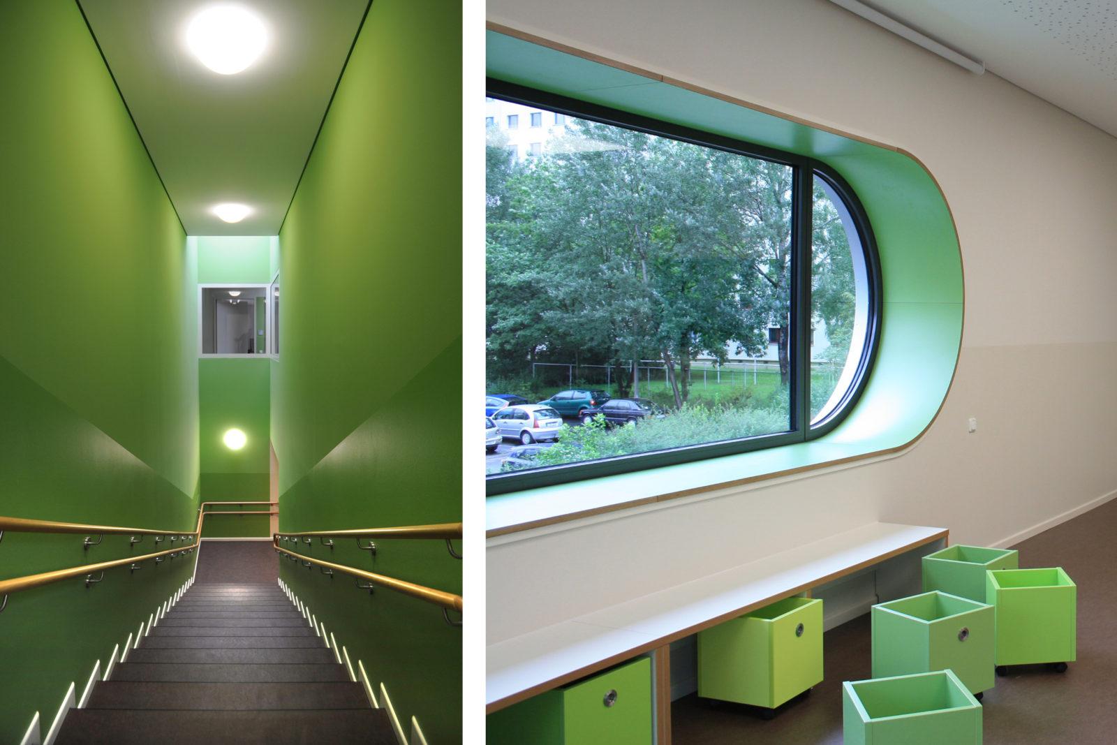 Umbau Werner-Vogel-Schule Leipzig, Lößnig - Treppe und Fensterdetail