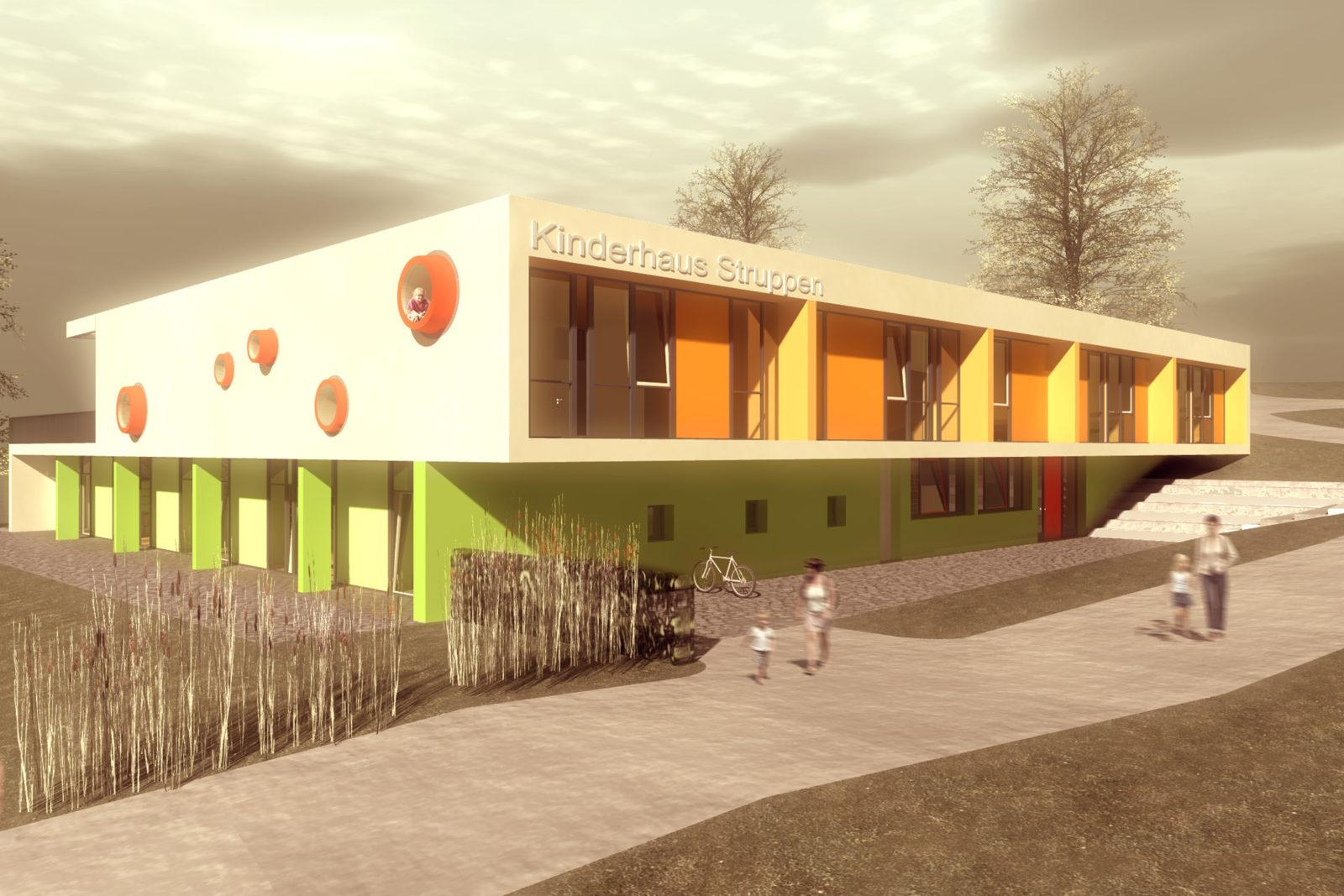 Wettbewerb Kinderhaus Struppen - Blick von Süd-Osten auf den Eingangsbereich