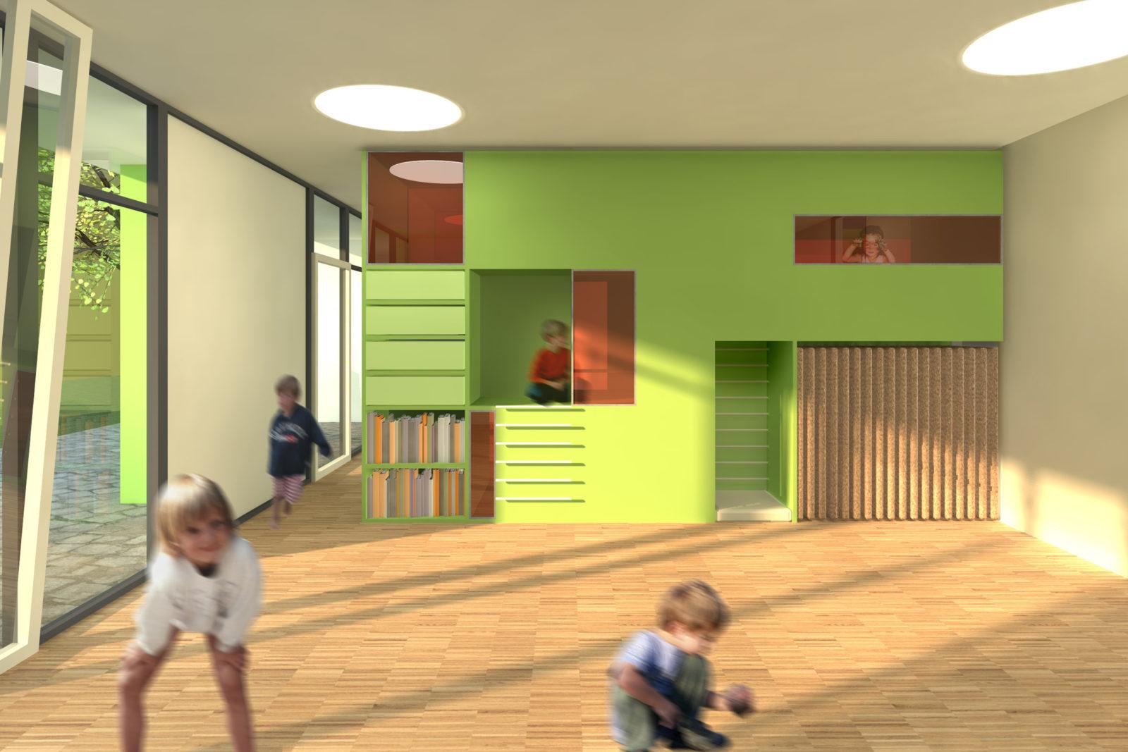 Wettbewerb Kinderhaus Struppen - Blick in einen Gruppenraum der Kita