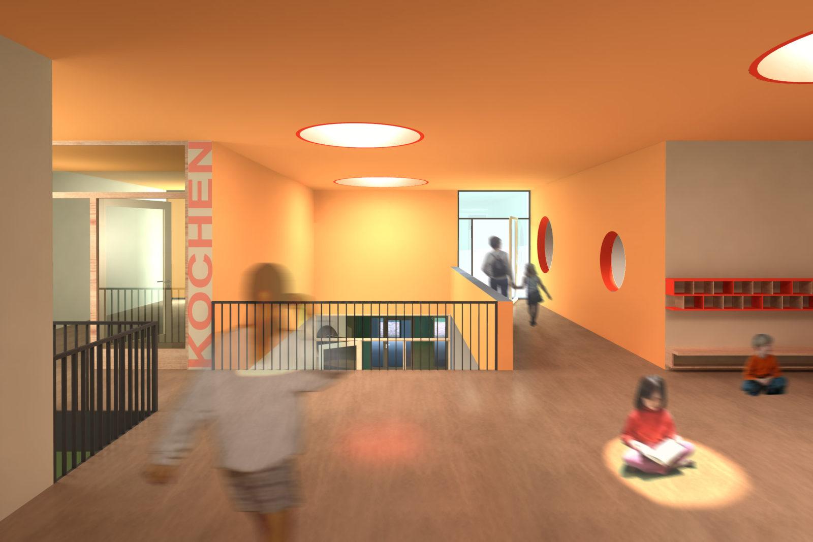 Wettbewerb Kinderhaus Struppen - Blick vom Flurbereich Hort in der Freibereich und das Foyer