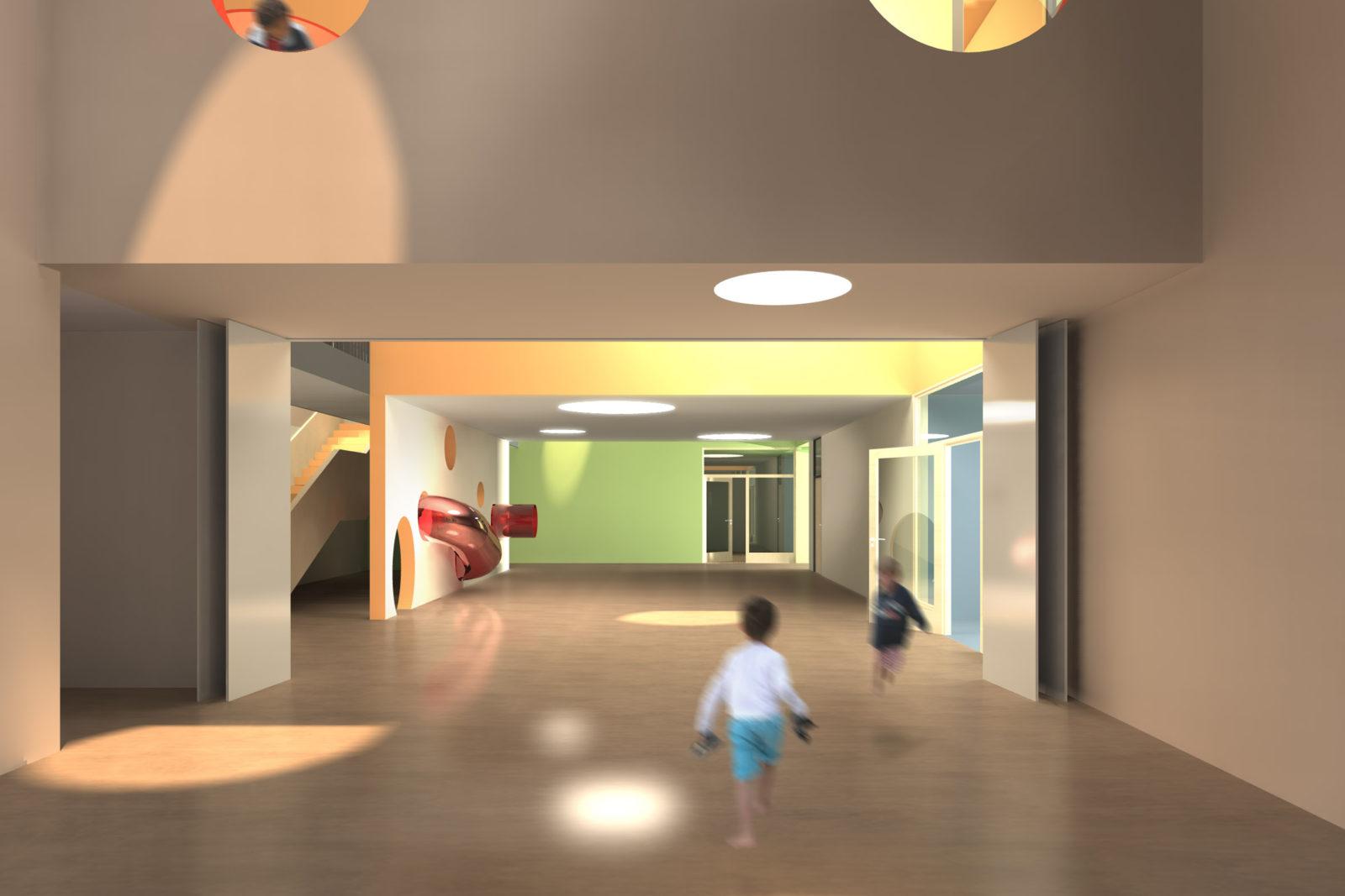 Wettbewerb Kinderhaus Struppen - Blick aus dem Mehrzweckraum in das Foyer