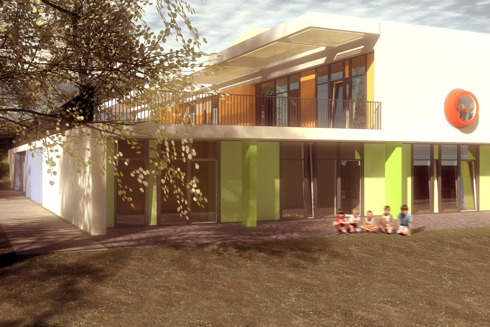 Wettbewerb Kinderhaus Struppen - Blick von Süd-West