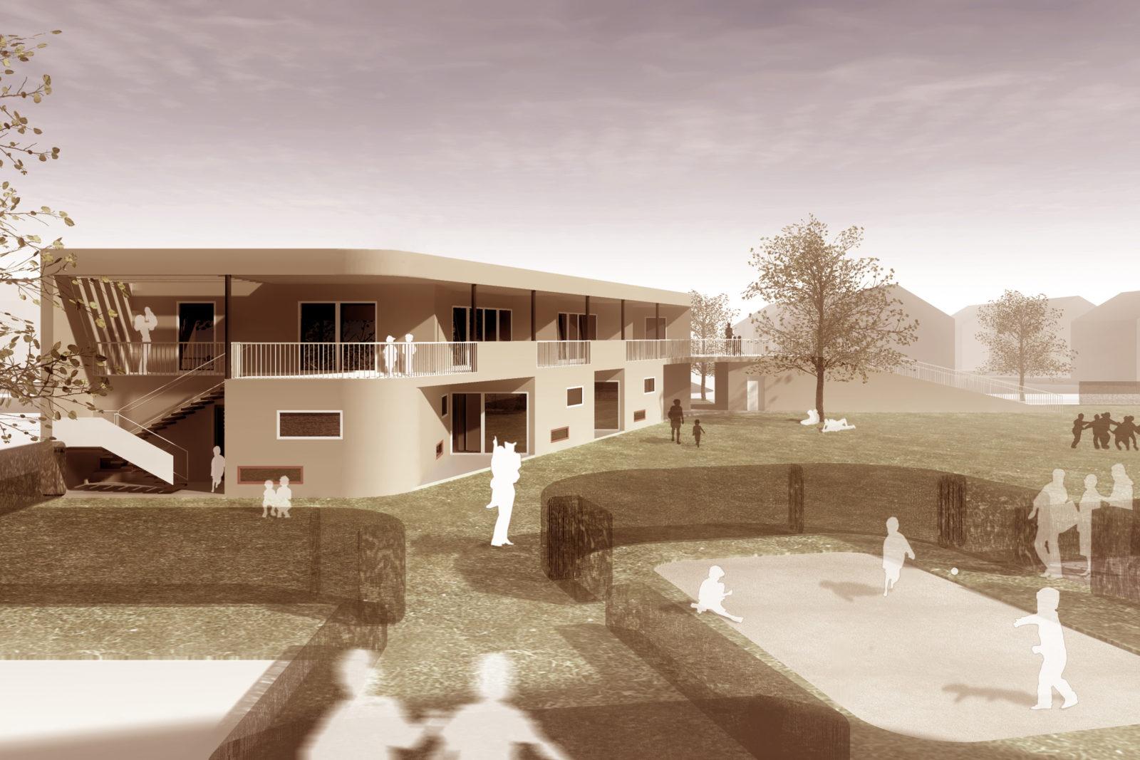 Wettbewerb Kita und Betreutes Wohnen in Probstheida - Blick in den Hinterhof der Kita