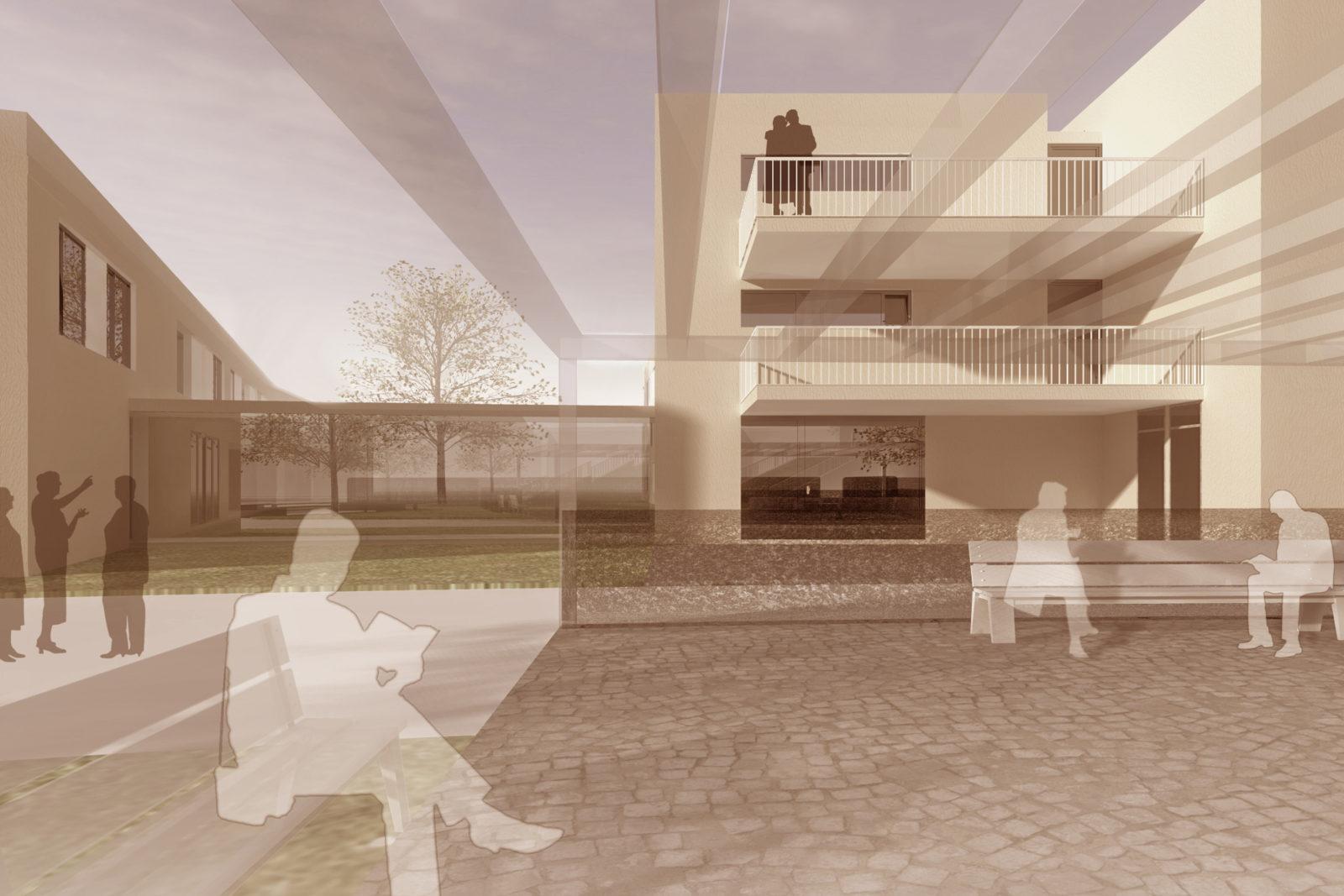 Wettbewerb Kita und Betreutes Wohnen in Probstheida - Blick in den Hinterhof