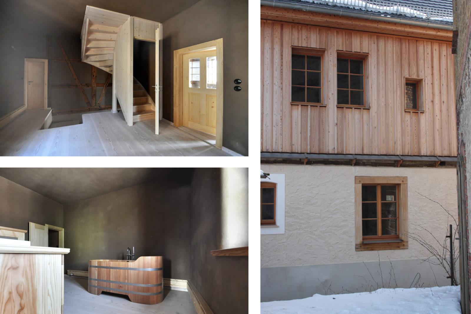 Umbau und Sanierung Baudenkmal Rentmeisterhaus in Püchau - Diele mit Treppe, Badezimmer und Außenansicht