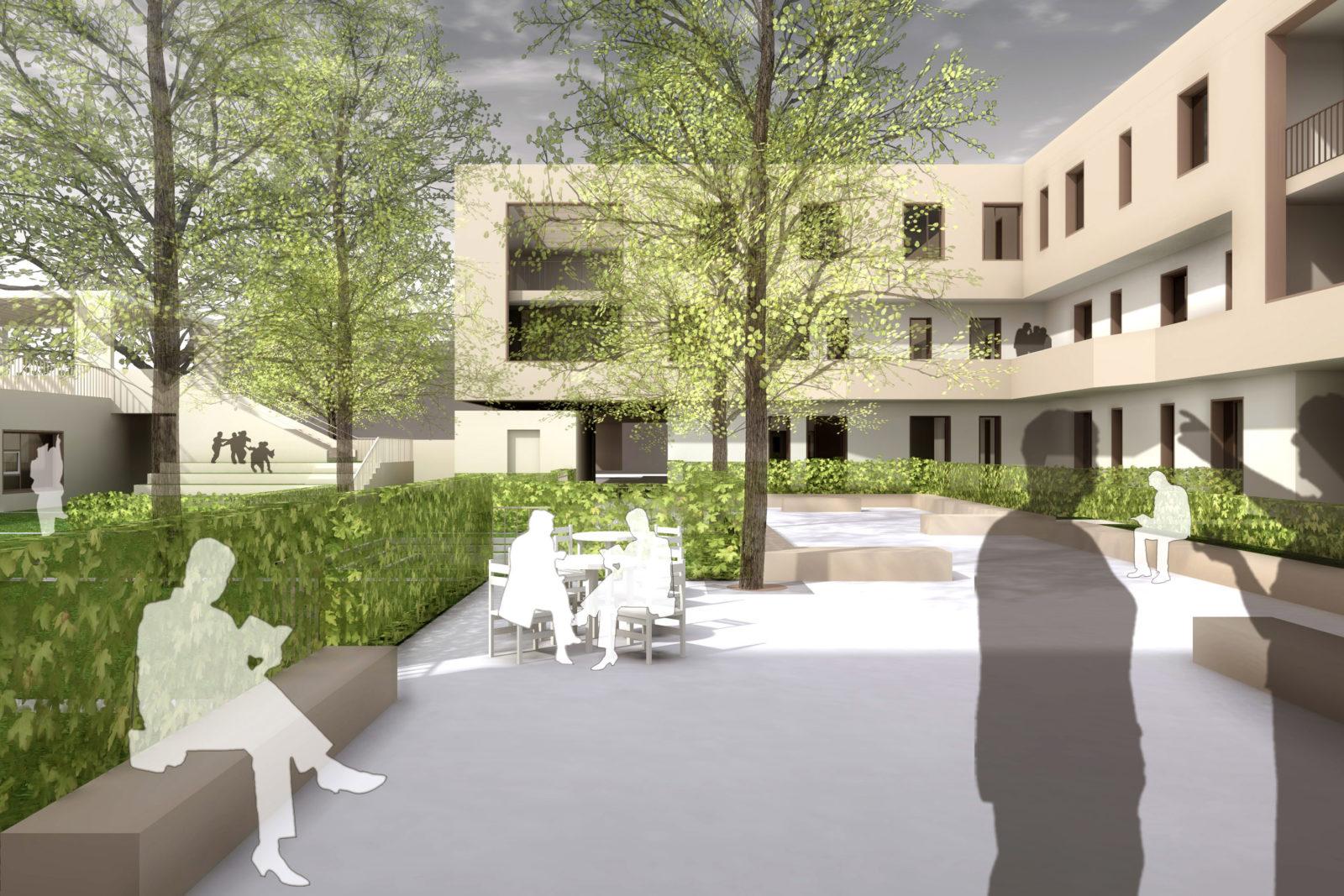 "Gutachterverfahren ""Quatier Grüner Hof"" in Zwickau - Blick in den Gemeinschaftshof"