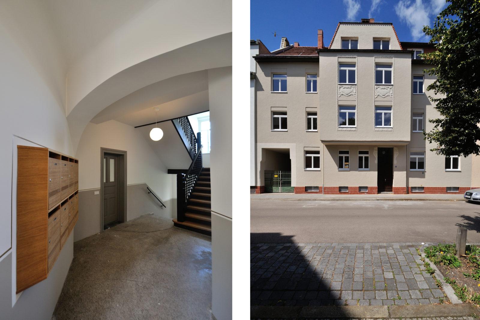 Umbau und Sanierung Mehrfamilienhaus in Leipizg, Plagwitz - Eingangsbereich Innen und Außen