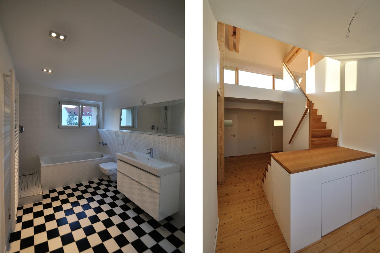 Umbau und Sanierung Mehrfamilienhaus in Leipizg, Plagwitz - Sanitärraum und Innentreppe