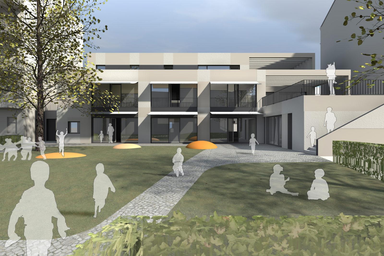 Neubau Kita Blumenstraße in Leipzig, Gohlis - Blick auf die Freispielfläche