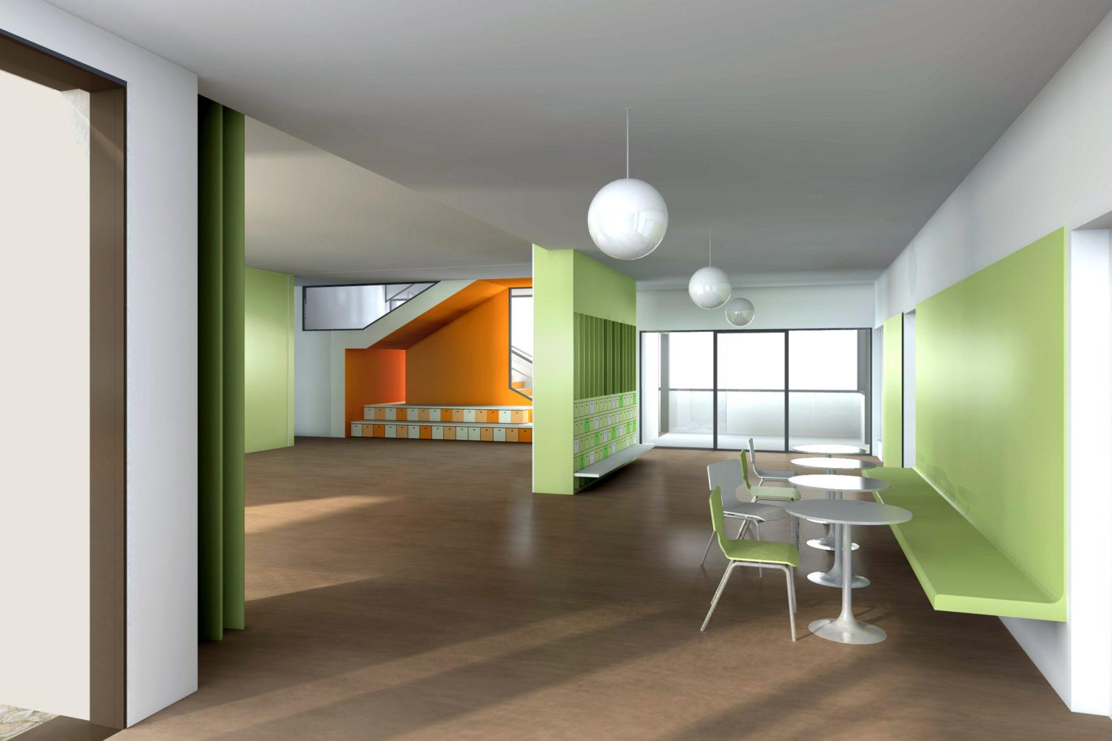 Neubau Kita Blumenstraße in Leipzig, Gohlis - Blick in Foyer und Mehrzweckraum