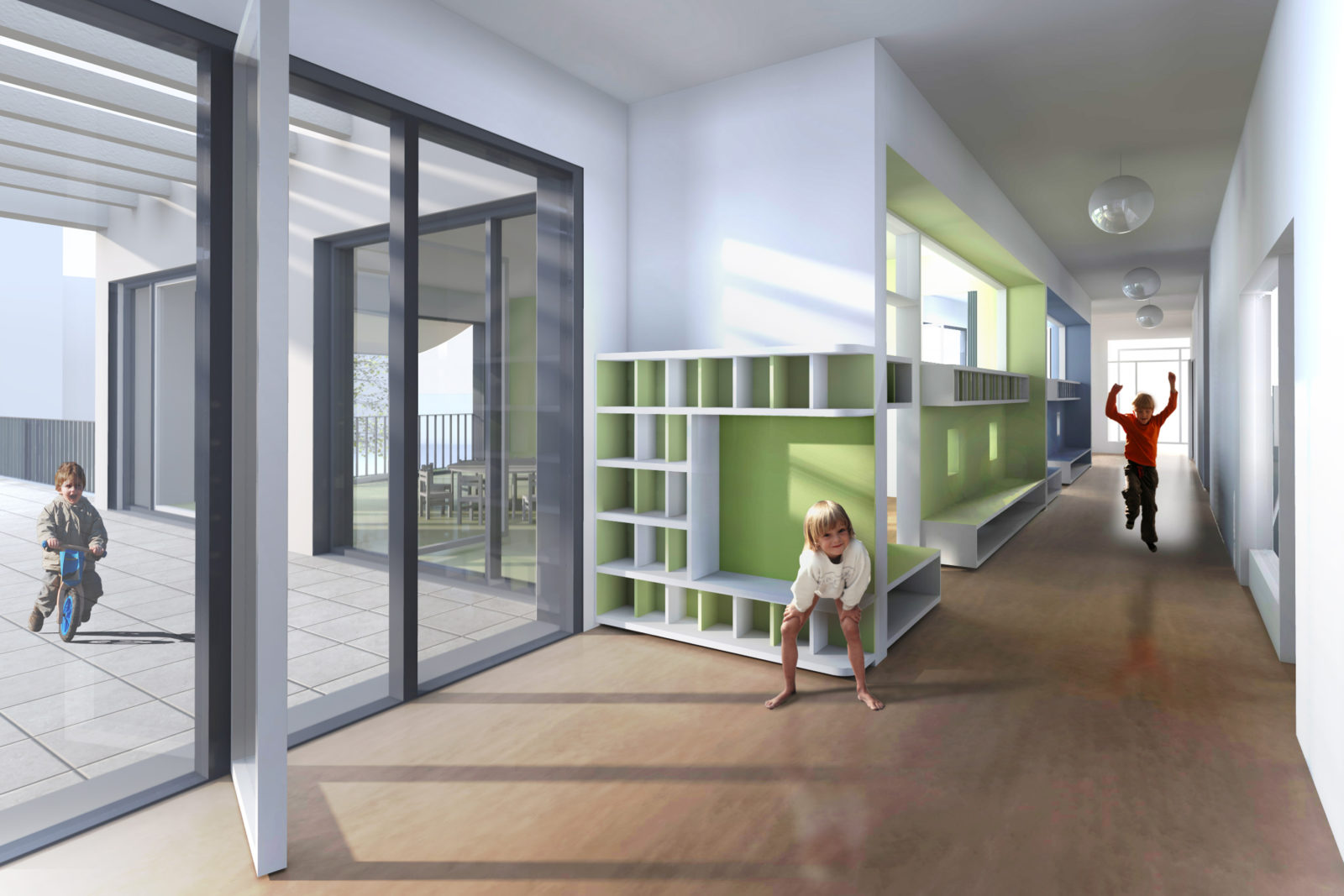 Neubau Kita Blumenstraße in Leipzig, Gohlis - Blick in den Flur mit Garderobenbereich