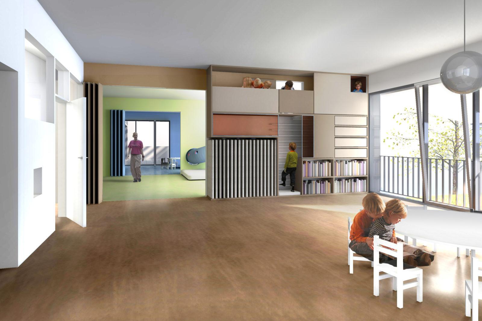Neubau Kita Blumenstraße in Leipzig, Gohlis - Blick in einen Gruppenraum