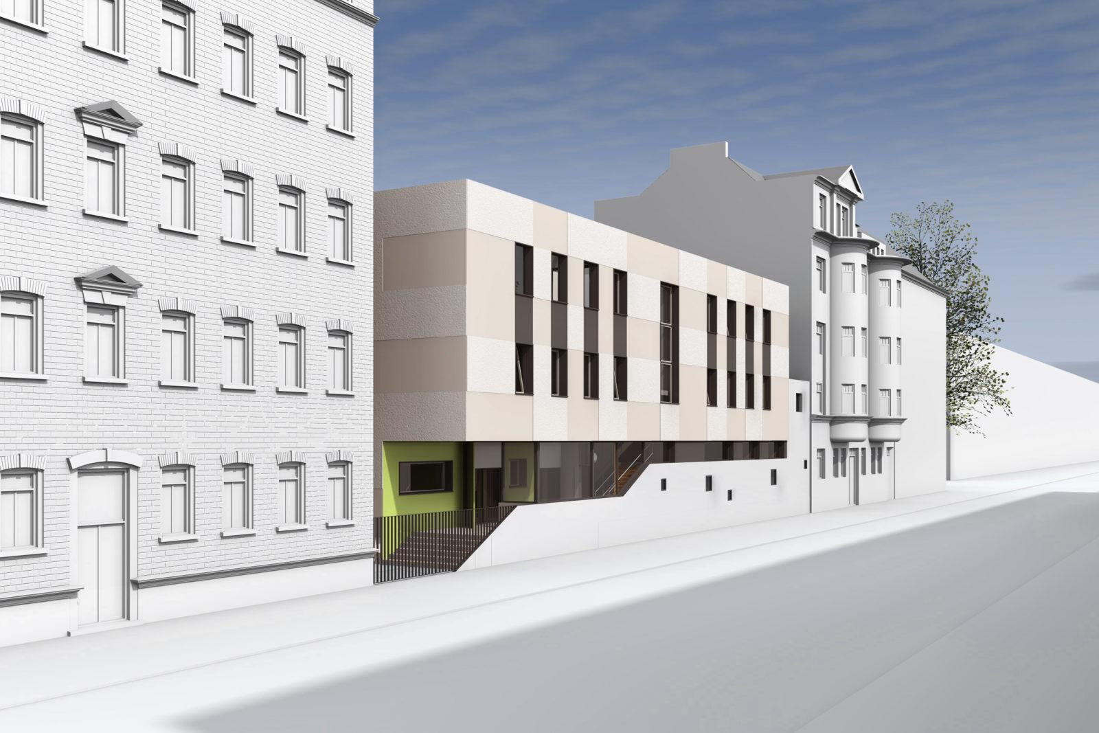 Neubau Kita Blumenstraße in Leipzig, Gohlis - Blick von der Straße