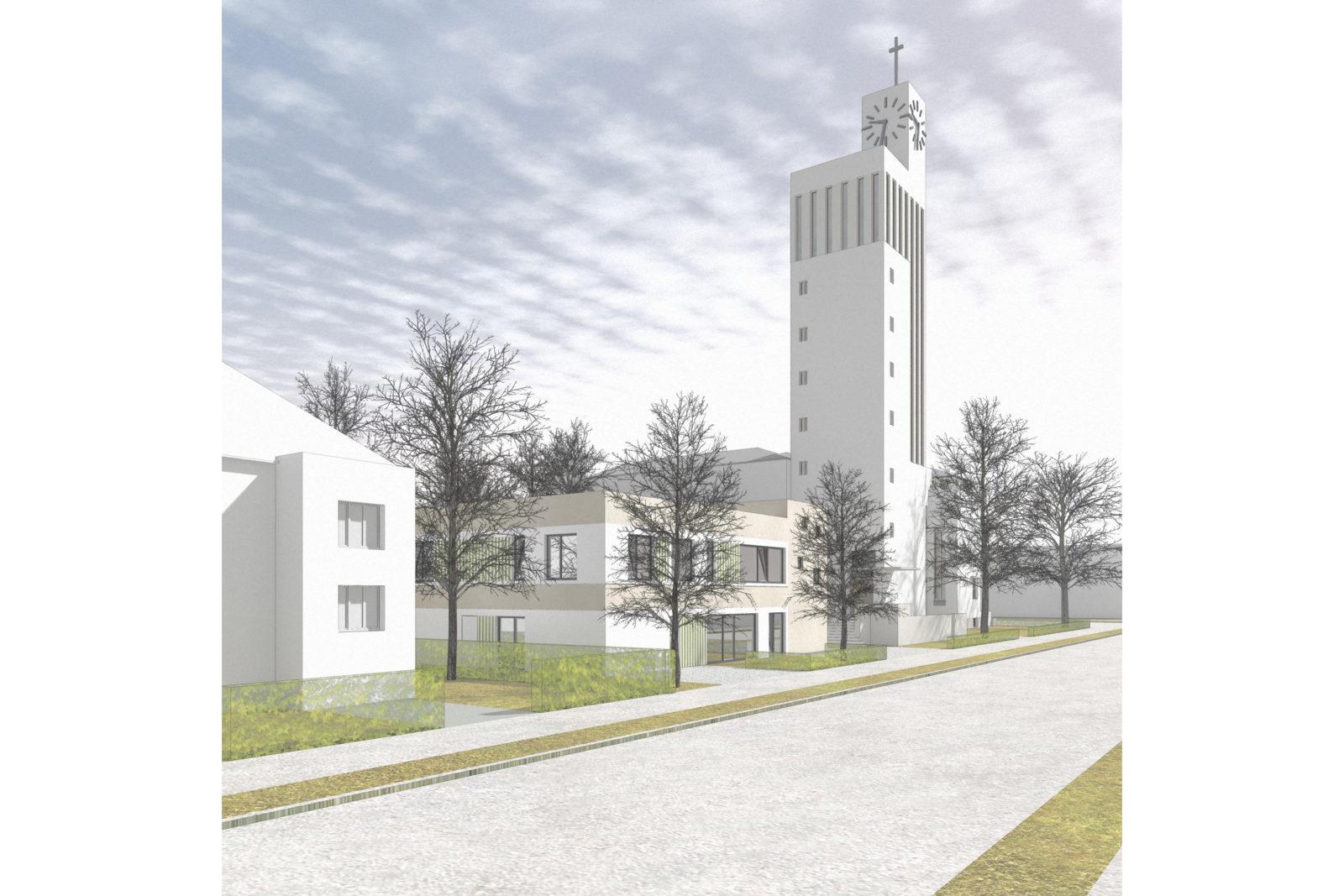 Neubau Kita Versöhnungskirche in Leipzig, Gohlis - Blick von ser Straßenseite