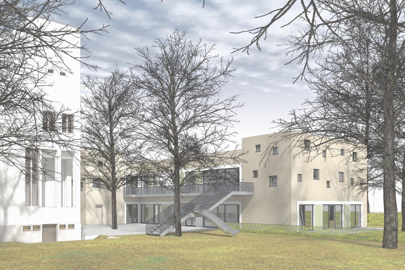 Neubau Kita Versöhnungskirche in Leipzig, Gohlis - Blick auf den Hinterhof