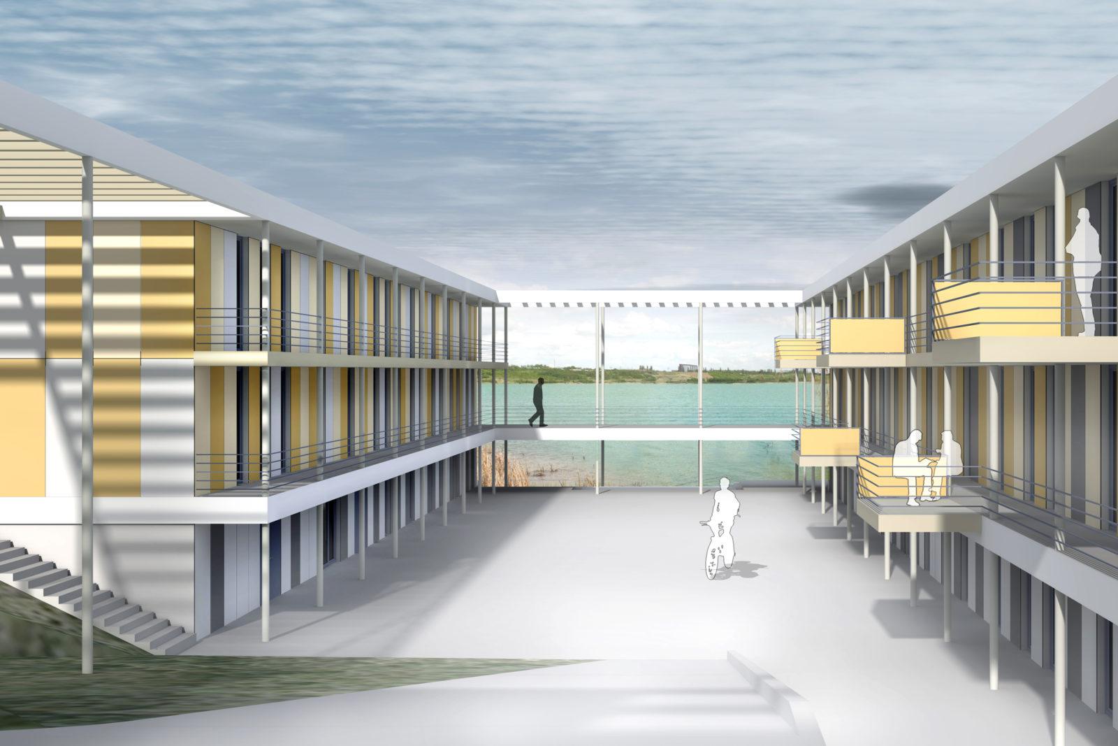 Neubau Seehaus am Hainer See bei Leipzig - Blick in den Innenhof