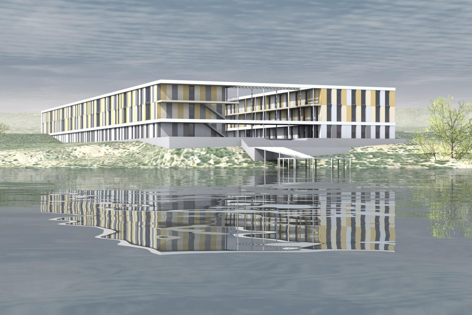 Neubau Seehaus am Hainer See bei Leipzig - Blick vom See