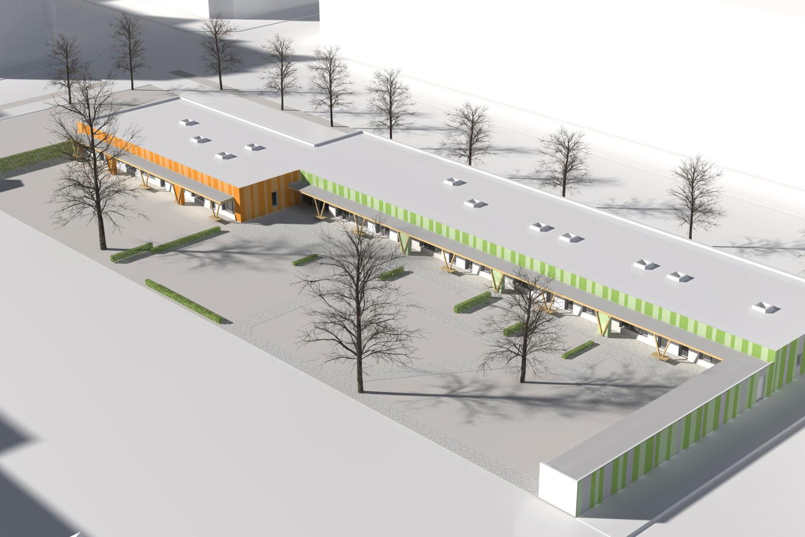 Neubau Kita Gohliser Straße in Leipzig, Zentrum-Nord - Vogelperspektive