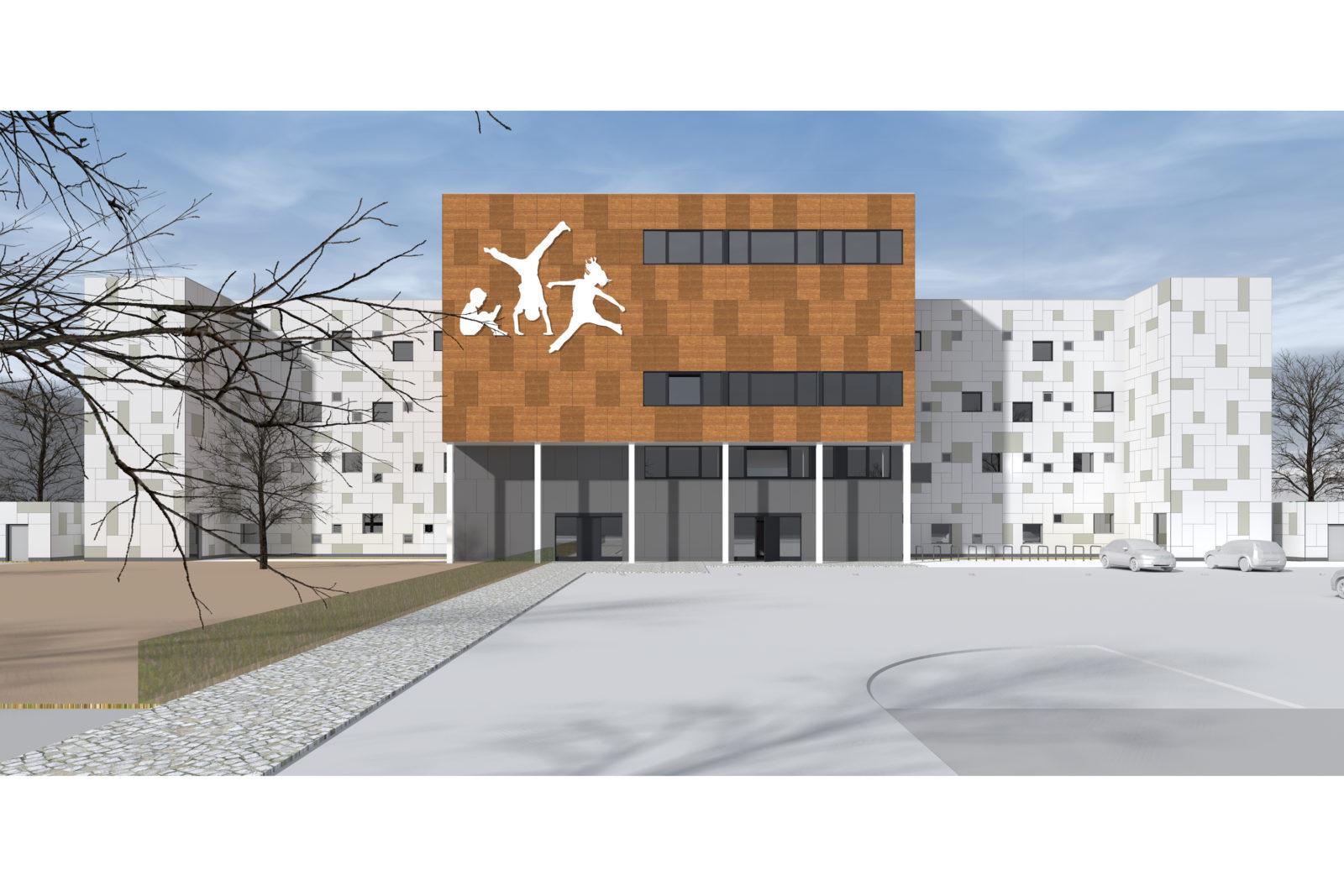 Neubau Kita und Förderschule an der alten Messe, Leipzig - Vorplatz mit Eingangsbereich