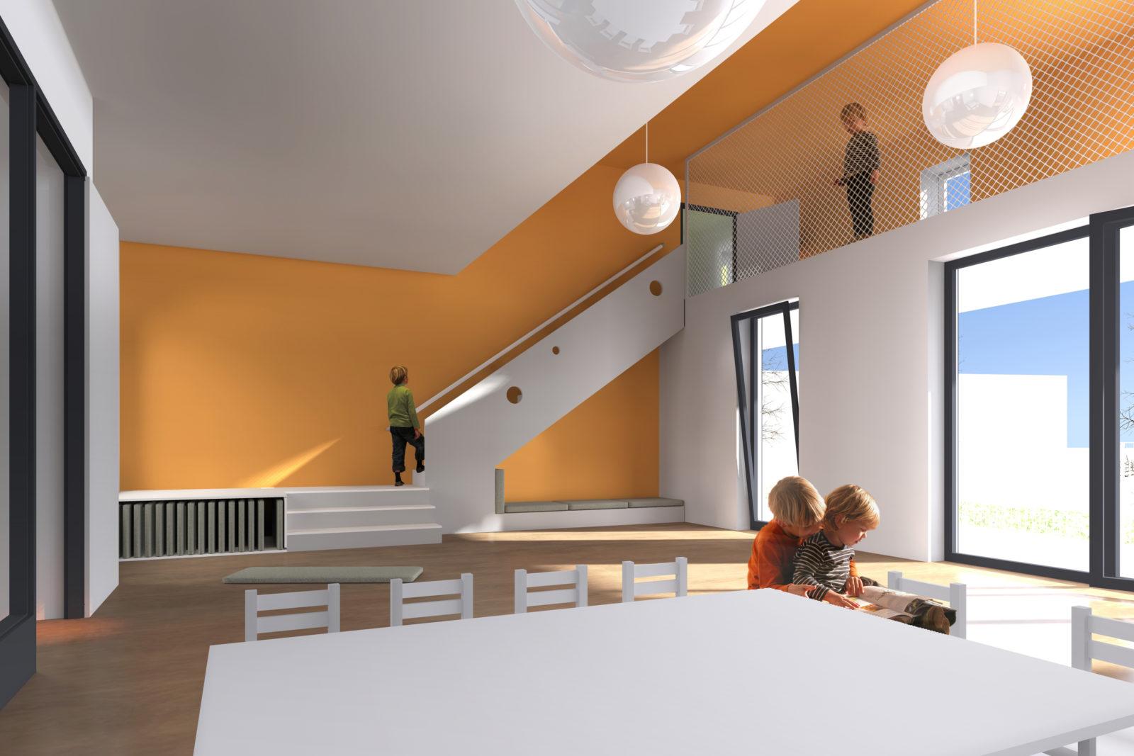 Neubau Kita und Förderschule an der alten Messe, Leipzig - Gruppenraum Kita mit Spielempore