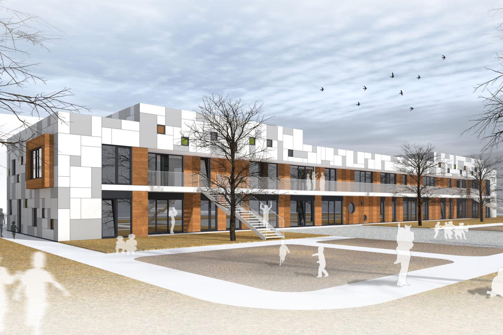 Neubau Kita und Förderschule an der alten Messe, Leipzig - Baukörper ohne Aufstockung mit Blick auf die Freispielfläche