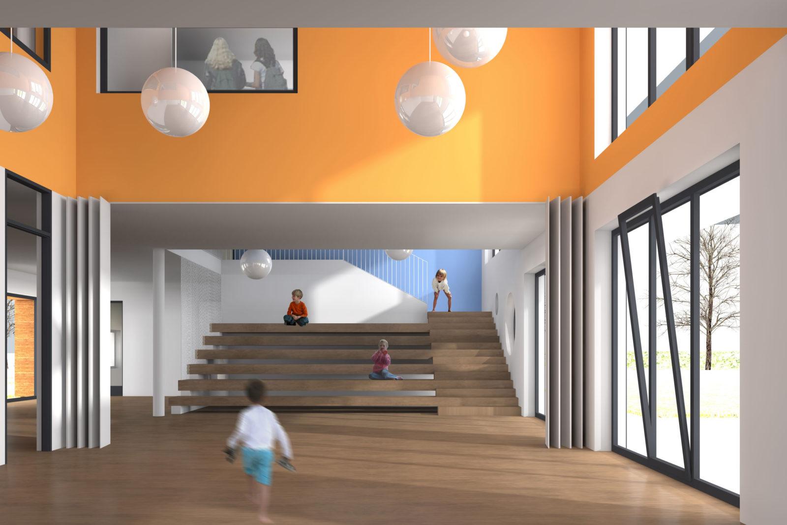Neubau Kita und Förderschule an der alten Messe, Leipzig - Foyer und Mehrzweckraum Kita
