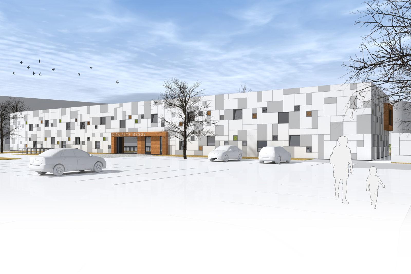 Neubau Kita und Förderschule an der alten Messe, Leipzig - Baukörper ohne Aufstockung mit Blick auf den Vorplatz