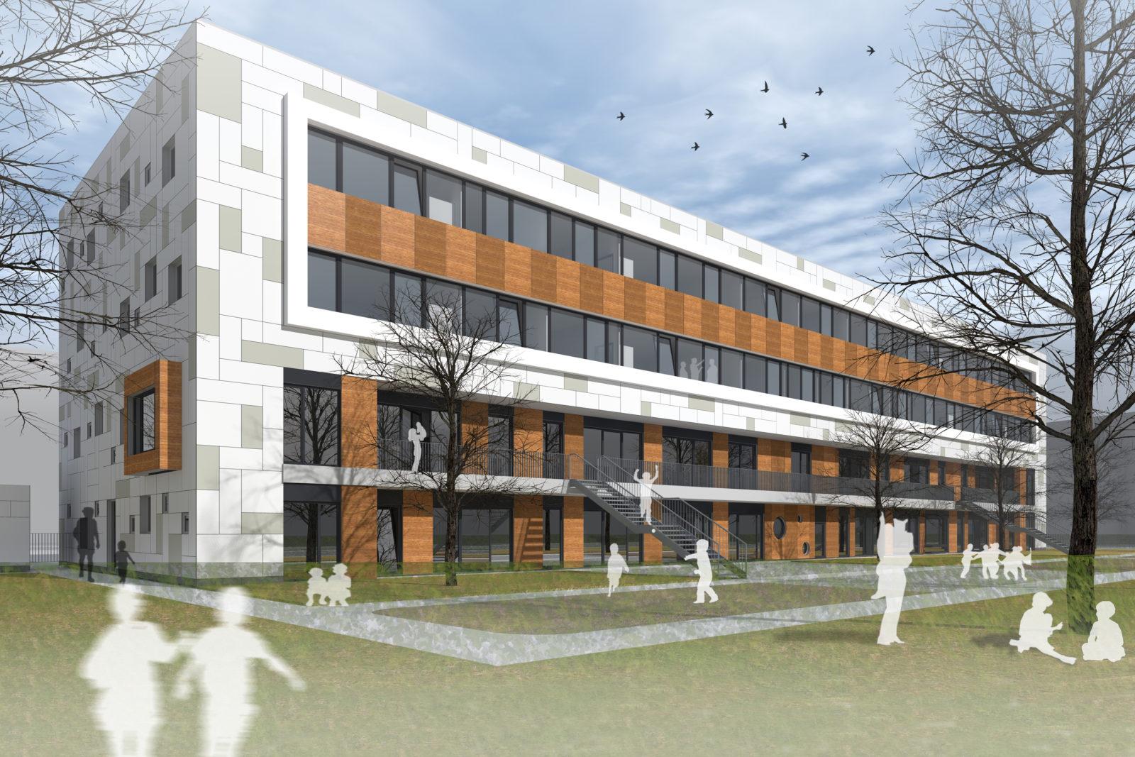 Neubau Kita und Förderschule an der alten Messe, Leipzig - Blick auf die Freispielfläche