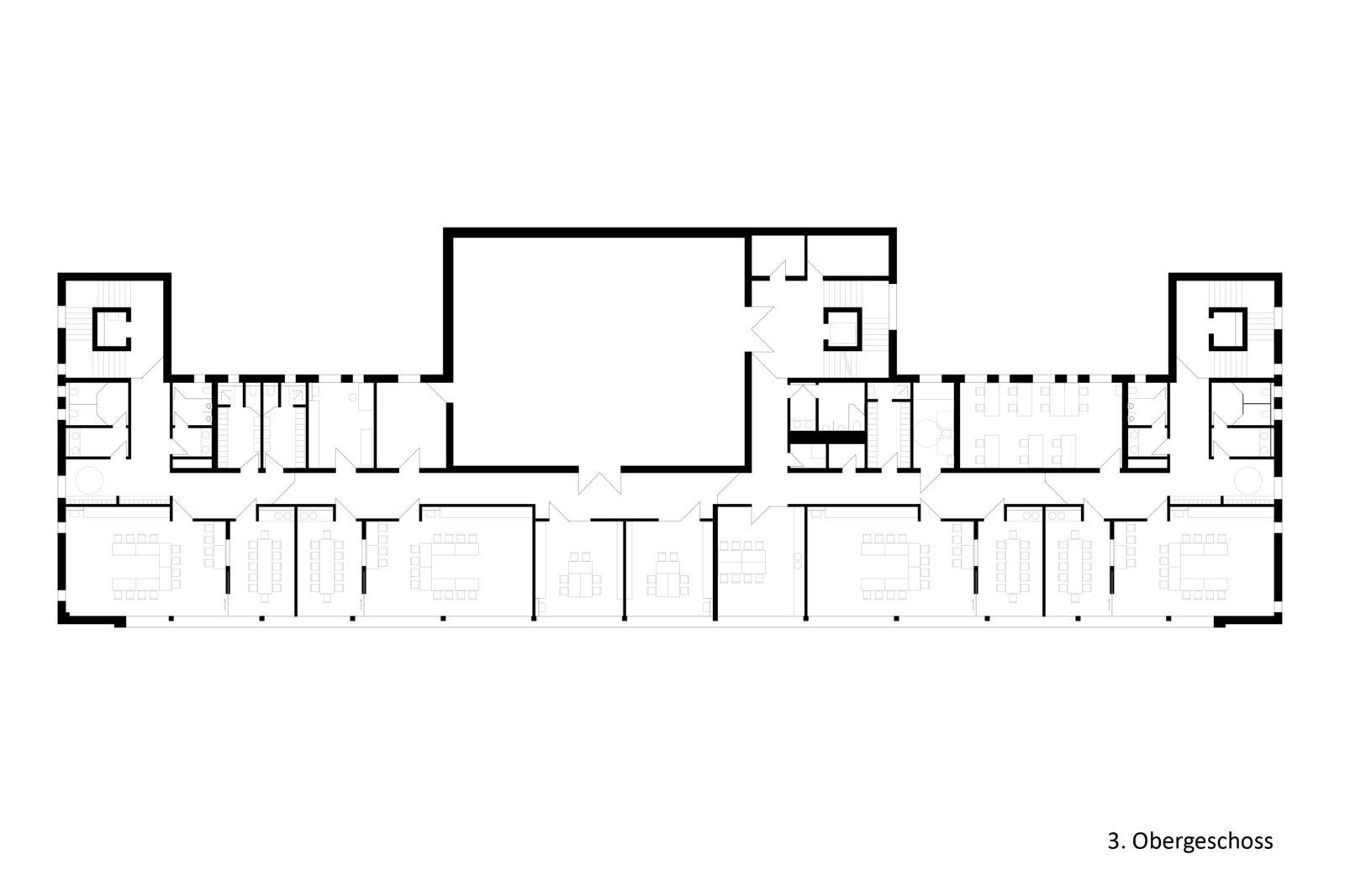Neubau Kita und Förderschule an der alten Messe, Leipzig - Grundriss 3. Obergeschoss