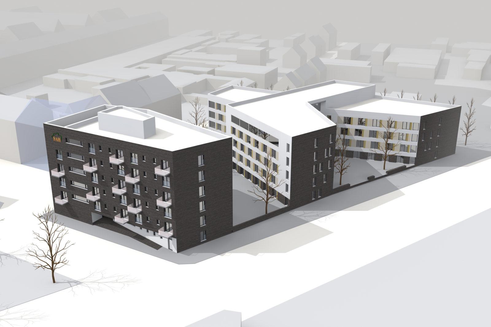 Neubau Altenwohnheim in Leipzig, Eutritzsch - Vogelperspektive