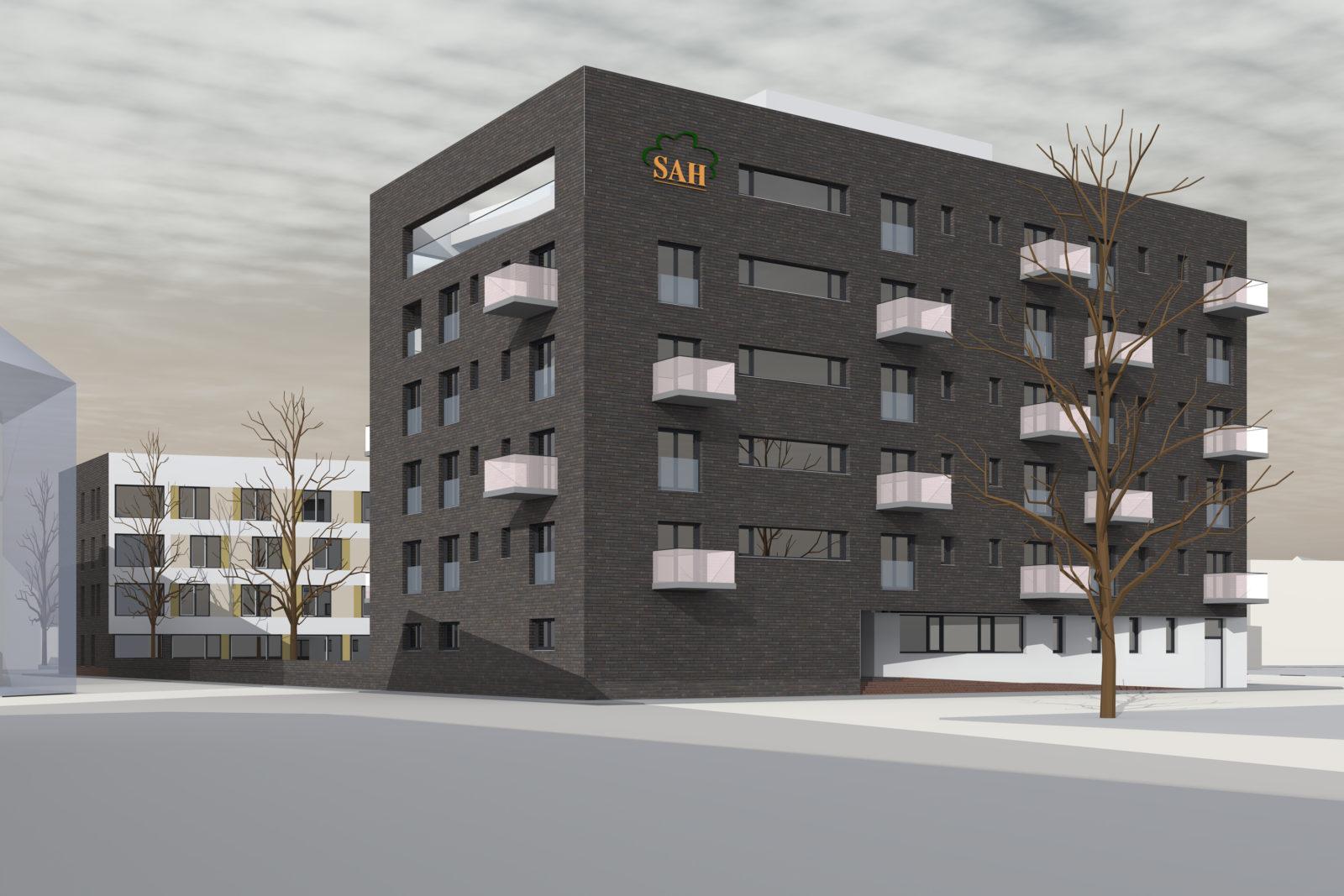 Neubau Altenwohnheim in Leipzig, Eutritzsch - Blick von der Straße