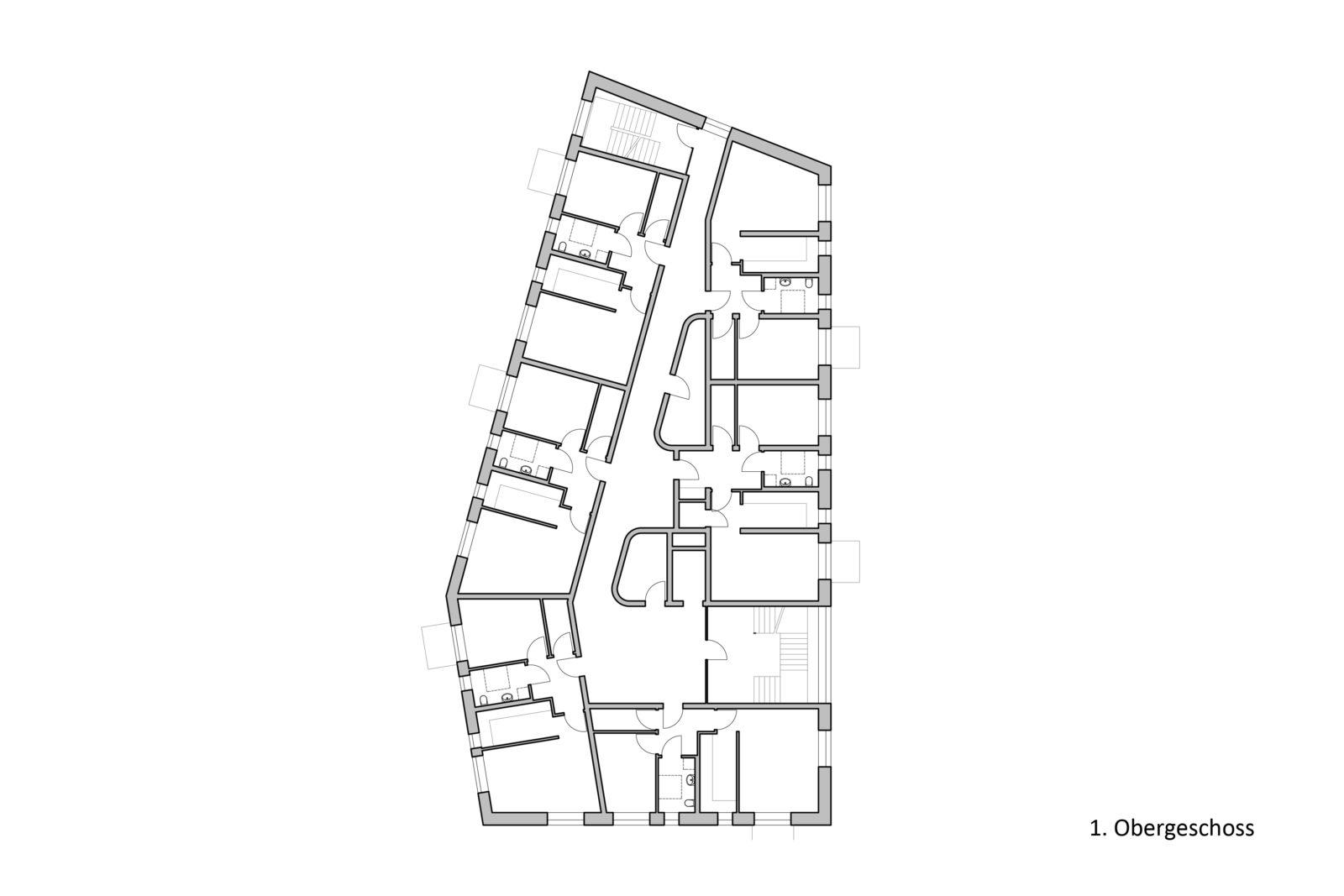 Neubau Altenwohnheim in Leipzig, Eutritzsch - 1. Obergeschoss