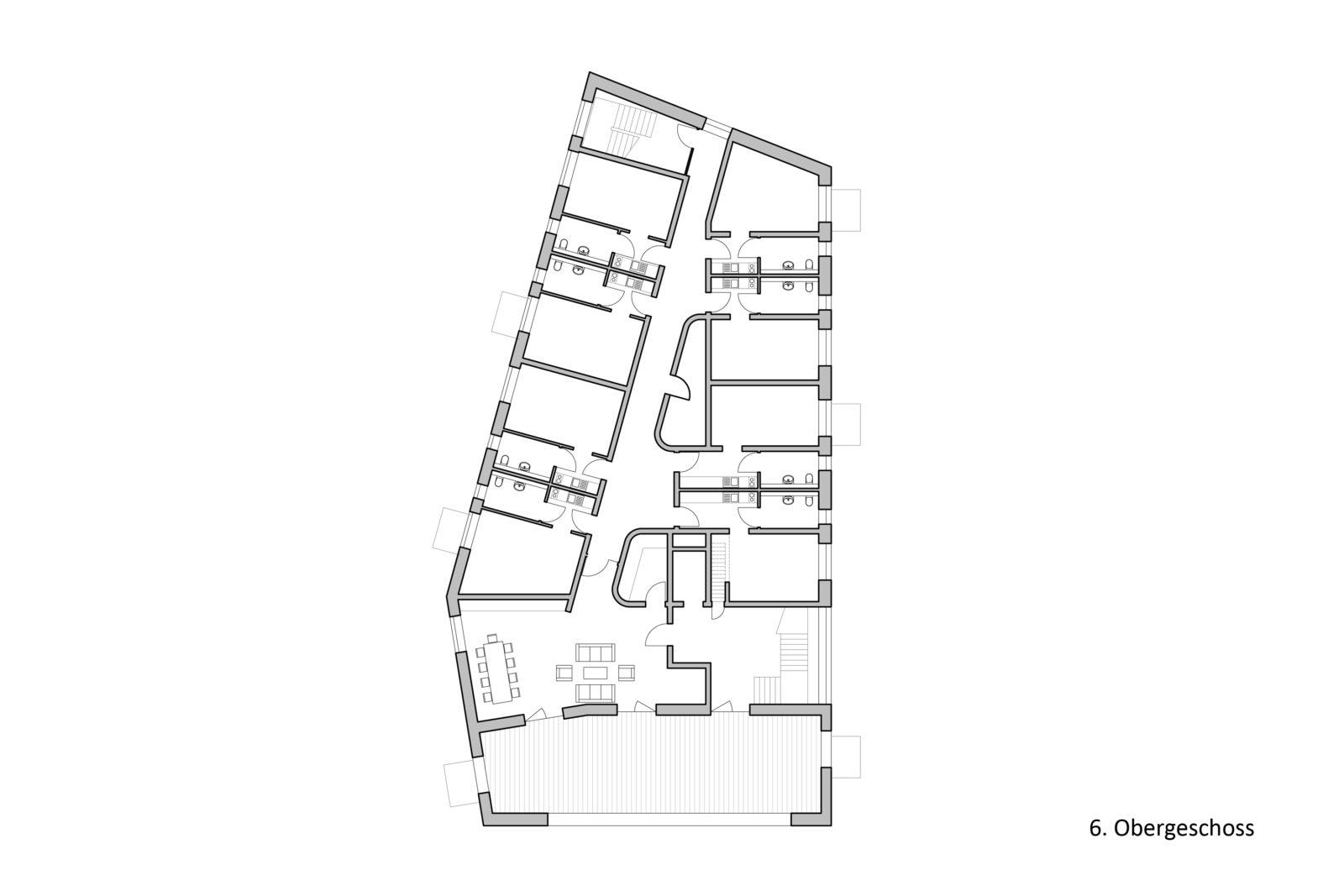 Neubau Altenwohnheim in Leipzig, Eutritzsch - 6. Obergeschoss