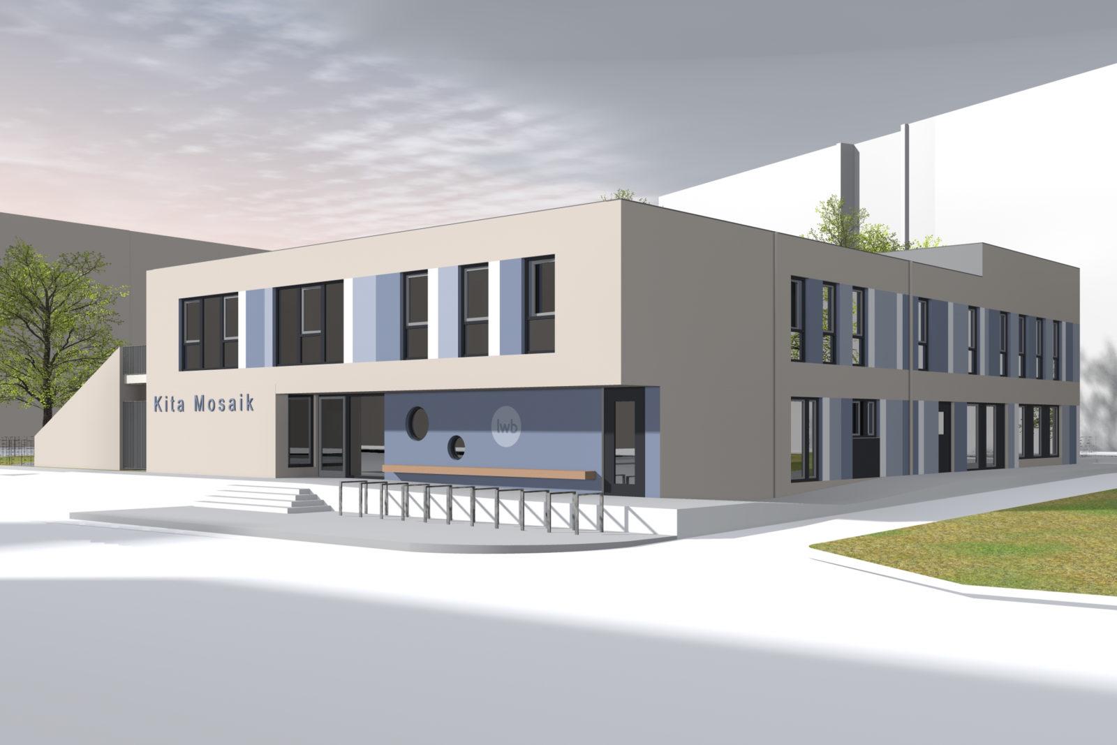 Neubau Kita Mosaik in Leipizg, Zentrum Süd - Blick auf Vorplatz und Eingangsbereich