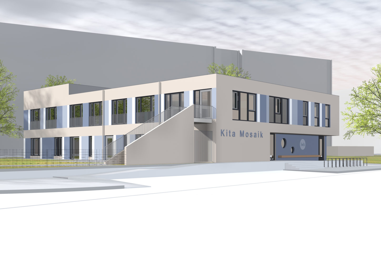 Neubau Kita Mosaik in Leipizg, Zentrum Süd - Blick von der Straße