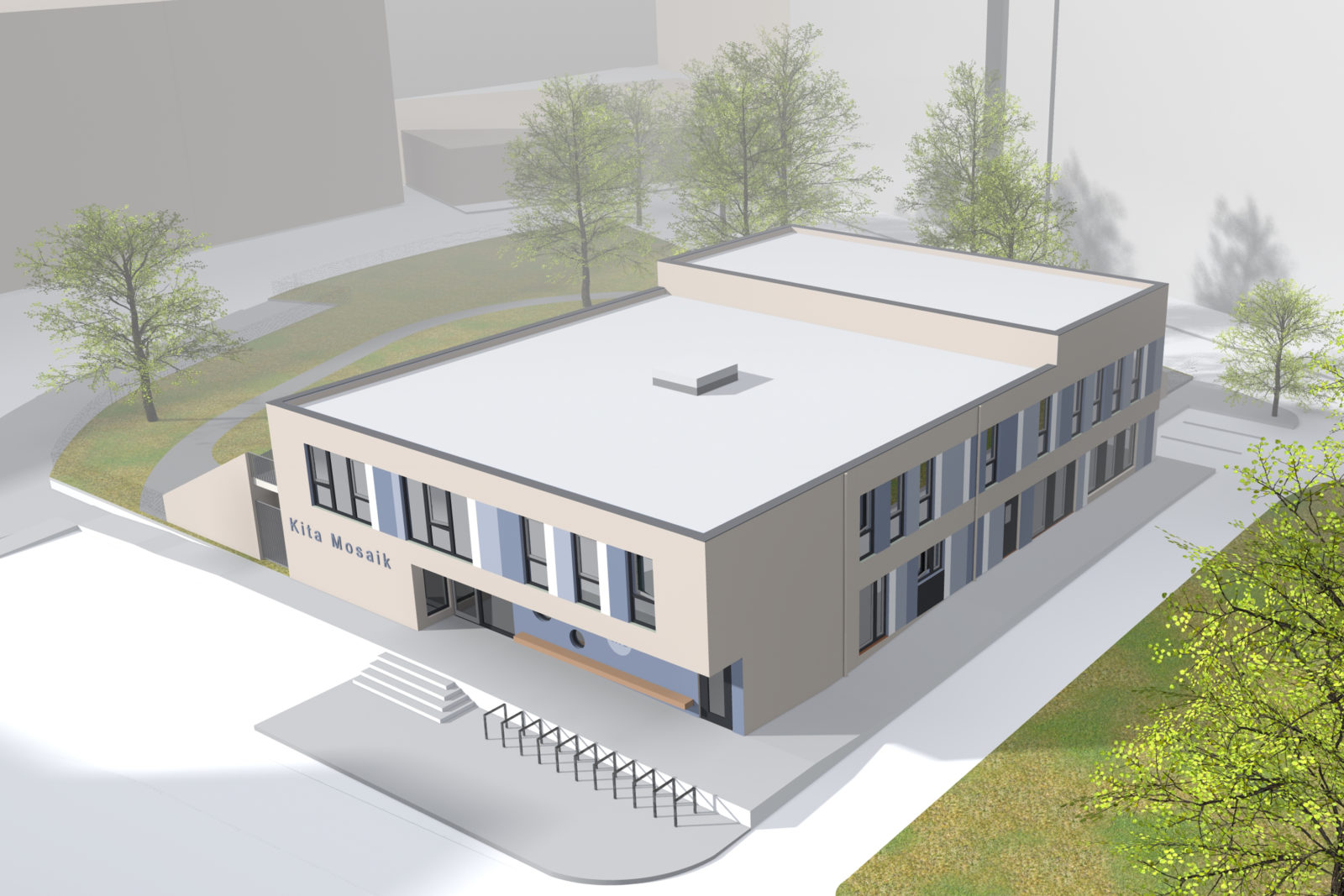 Neubau Kita Mosaik in Leipizg, Zentrum Süd - Vogelperspektive
