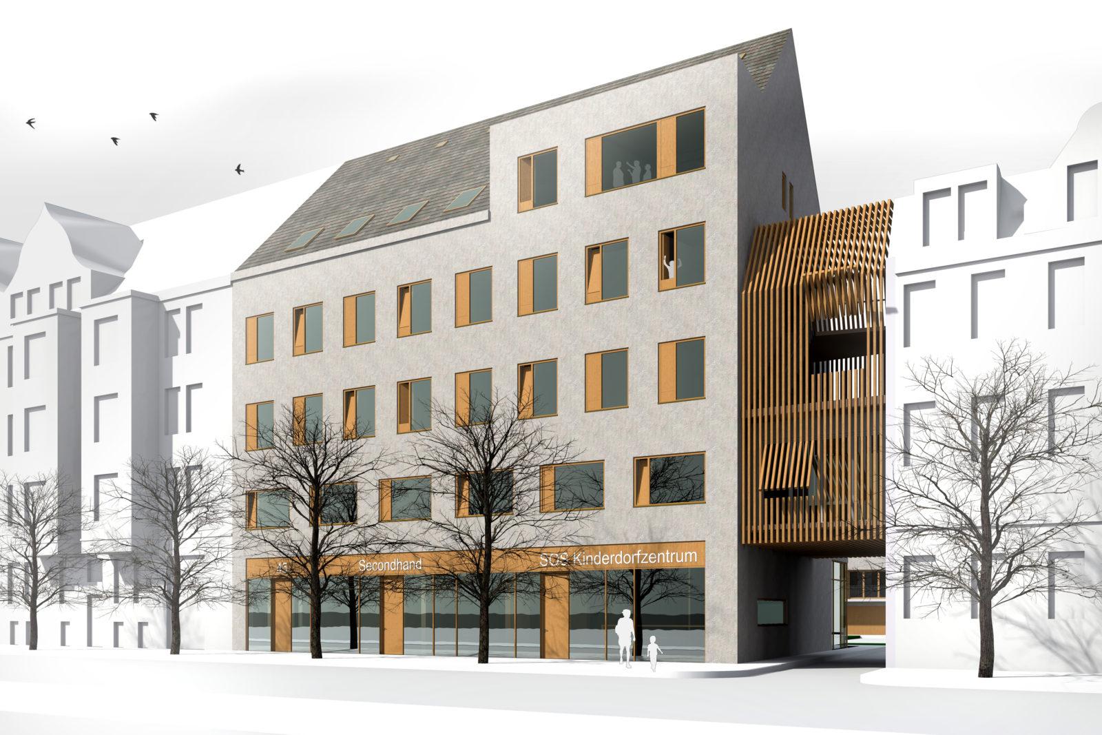 Wettbewerb SOS-Kinderdorf in Leipzig, Connewitz - Blick von der Windscheidstraße