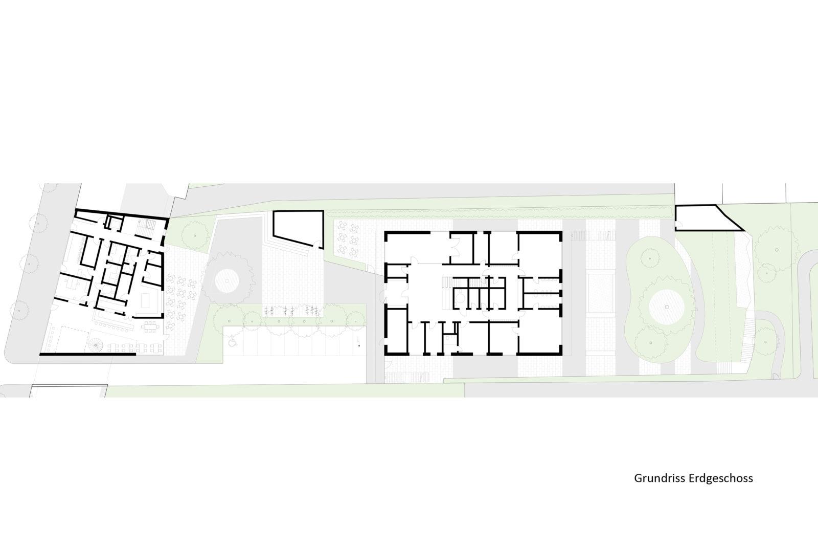 Wettbewerb SOS-Kinderdorf in Leipzig, Connewitz - Erdgeschoss