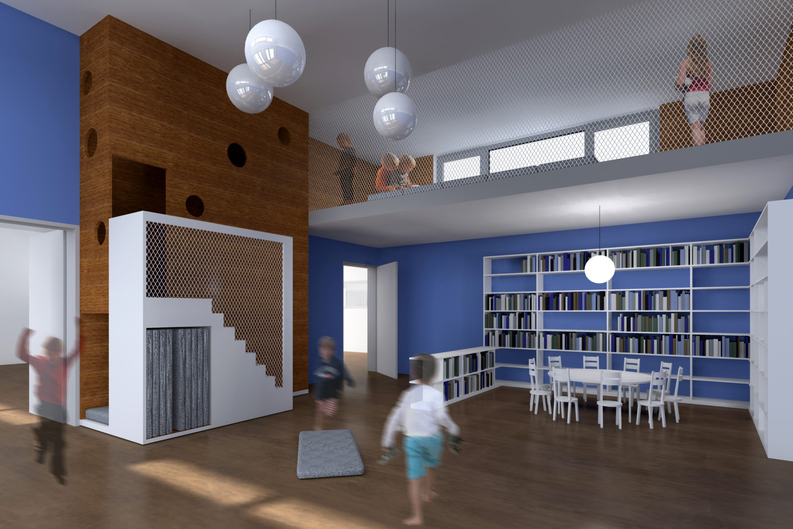 Neubau Kita Ludolf-Colditz-Straße in Leipzig, Stötteritz - Gruppenraum mit Spielempore
