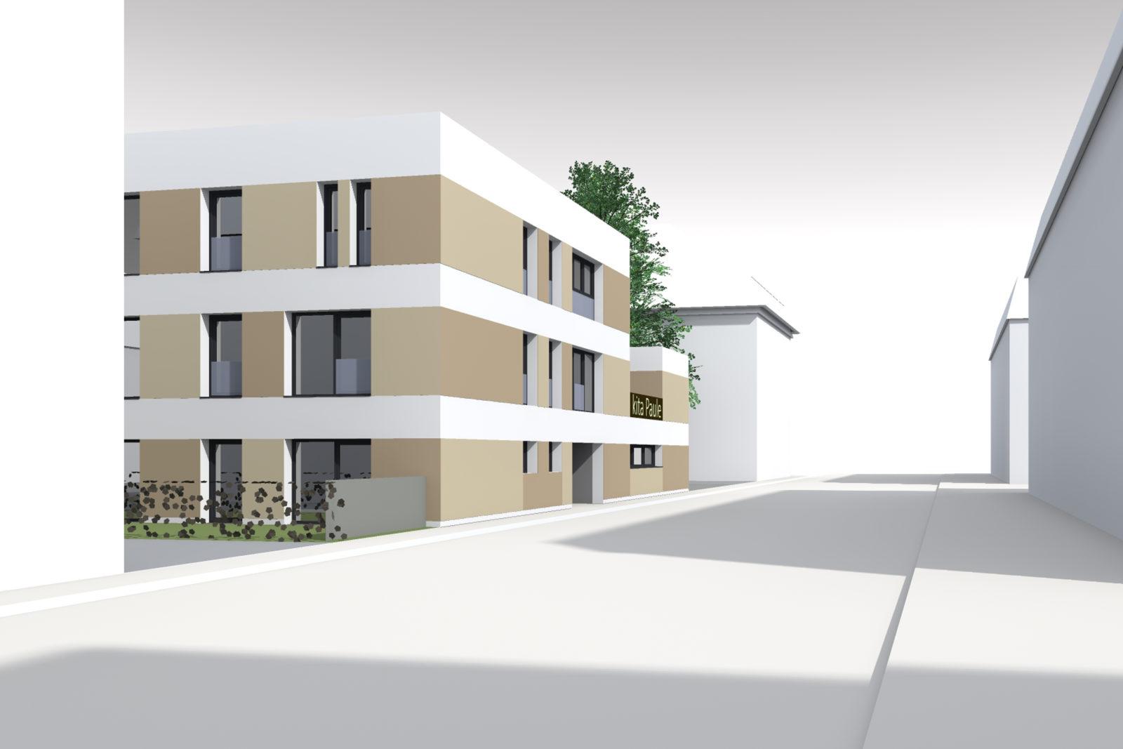 Neubau Kita Paul-Küstner-Straße in Leipzig, Alt-Lindenau - Blick von der Straße