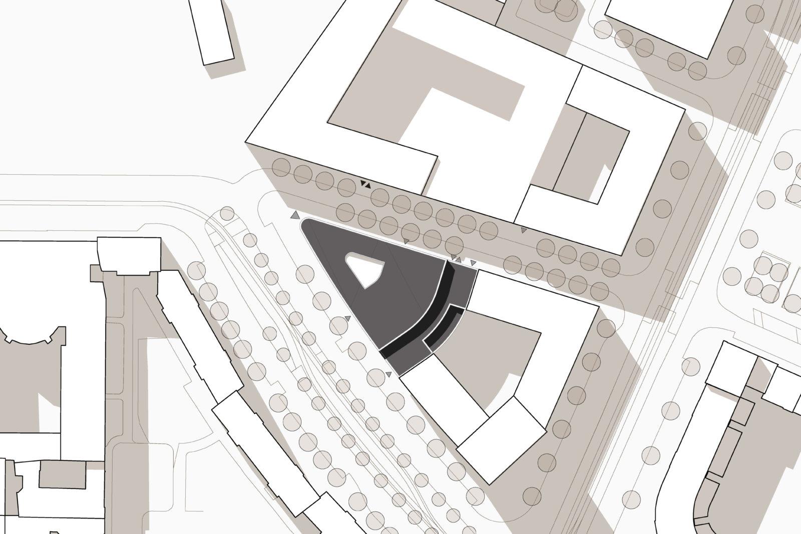 Wettbewerb Leibniz-Institut für Länderkunde in Leipzig, Zentrum - Lageplan