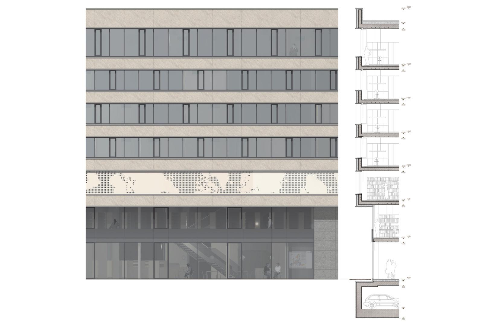 Wettbewerb Leibniz-Institut für Länderkunde in Leipzig, Zentrum - Fassadenschnitt