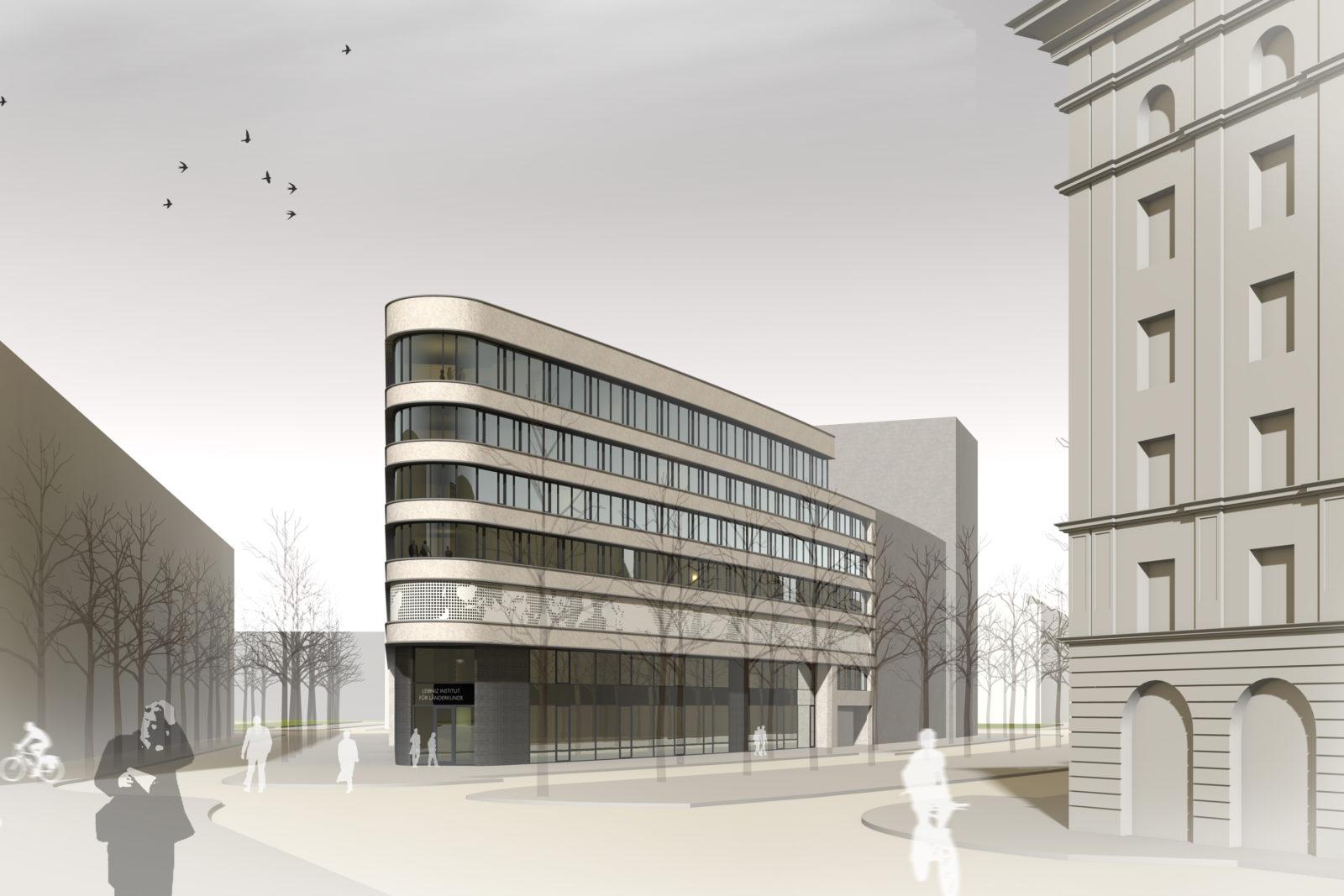 Wettbewerb Leibniz-Institut für Länderkunde in Leipzig, Zentrum - Blick von der Straße
