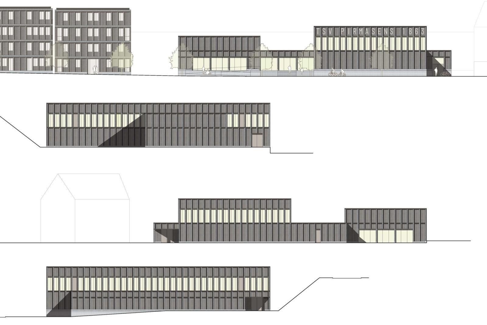 Neubau Sporthalle Pirmasens - Ansichten