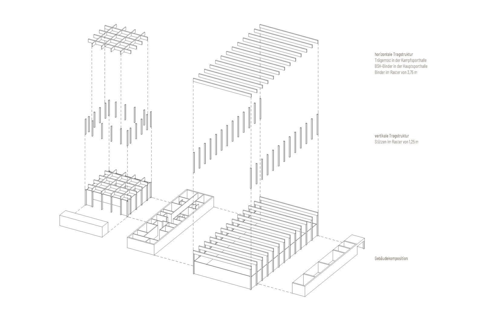 Neubau Sporthalle Pirmasens - Konstruktionsaxometrie
