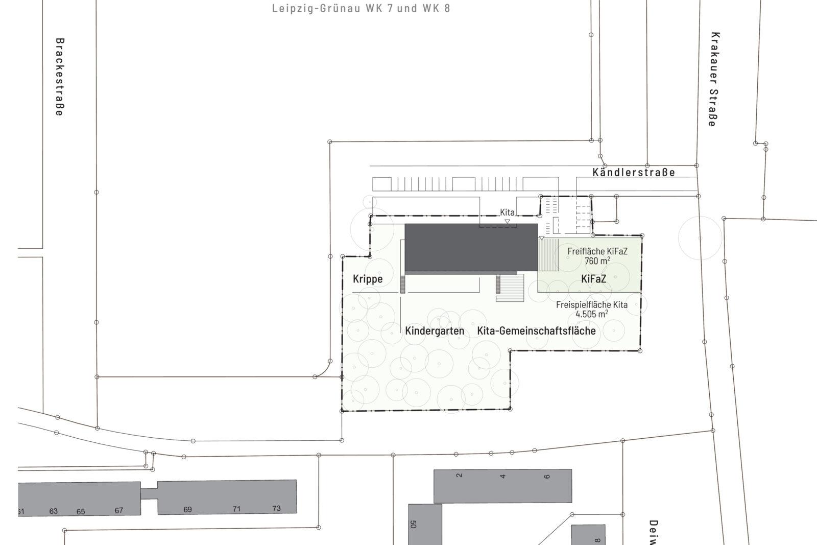 Neubau Kita und Familienzentrum Kändlerstraße - Lageplan